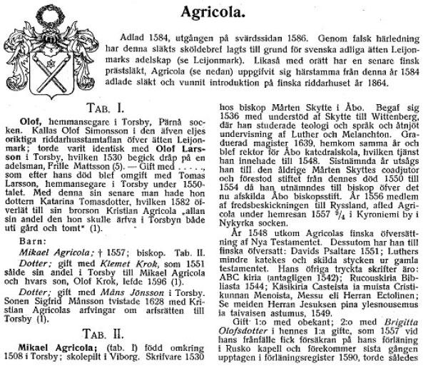 Agricola Ramsayn aateliskalenterista 1909